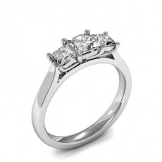 Princess White Gold Trilogy Diamond Engagement Rings