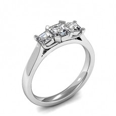 Asscher Platinum Trilogy Diamond Engagement Rings
