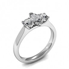 2 Prong Setting Plain Three Stone Ring