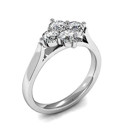 4 Prong Setting Round Diamond Half Eternity Ring