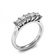 Princess White Gold 5 Stone Diamond Rings