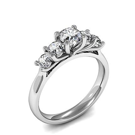 Prong Setting Round Diamond Five Stone Ring