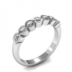 Bezel Setting Plain Seven Stone Ring