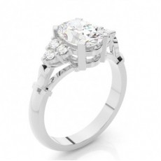 Oval Side Stone Diamond Rings