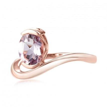 Sacet Belle Oval Pink Amethyst Ring