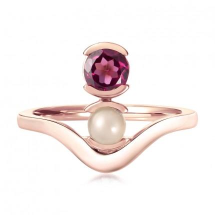 Sacet Belle Stacked Garnet And Moonstone Ring