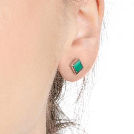 Sacet Ornate Square Malachite Earrings